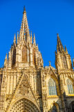 Architectural fragments of Cathedral of Santa Eulalia of Barcelona Stock Images