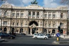 Architectural fragments of Palace of Justice Corte Suprema di Cassazione. Design by Perugia architect Guglielmo Calderini, built Royalty Free Stock Image