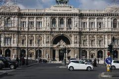 Architectural fragments of Palace of Justice Corte Suprema di Cassazione. Design by Perugia architect Guglielmo Calderini, built Stock Photos