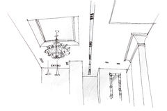 Architectural freehand drawing of ceiling light design at home Stock Photography