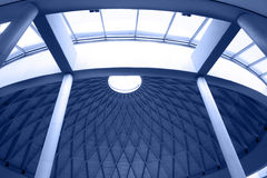Architectural geometry in blue. Geometric detail of a hall Stock Images