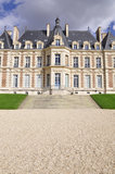 Architectural grandeur. Small castles facade symbol of grandeur and importance Royalty Free Stock Images