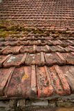 Architectural grunge aged roof clay tiles Royalty Free Stock Image