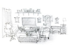 Architectural hand drawing of modern living room interior Royalty Free Stock Photo