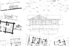 Architectural hand drawings background Royalty Free Stock Images