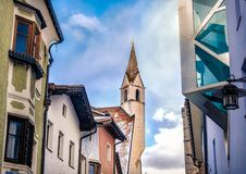 Architectural harmony between new modern architecture and old hi Stock Photo