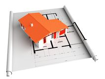 Architectural house on blueprint. 3d house on a blueprint Royalty Free Stock Photo