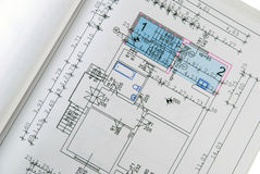 Architectural house plan. Paperwork with drawn construction Royalty Free Stock Image