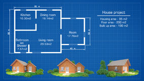 Architectural house plan with models Stock Image