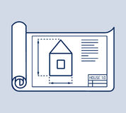 Architectural House Plan Vector Illustration. House plan thin line vector illustration, architectural project, blueprint Stock Photography