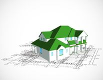 Architectural house. Vector technical draw Stock Image