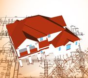 Architectural house. Vector technical draw Stock Photography