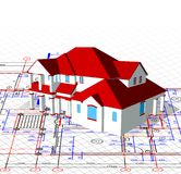 Architectural house. Vector technical draw Royalty Free Stock Photo