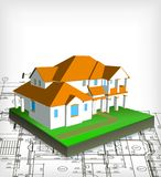 Architectural house. Vector technical draw Royalty Free Stock Photography