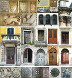 Architectural Istria. Croatia. Selection of elements of the Venetian and Roman architecture of Istrian peninsula in Croatia: doors, windows, a cartouche, the Royalty Free Stock Photo