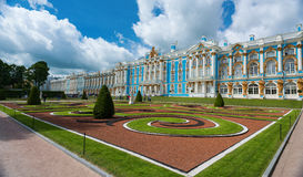 Architectural Landmark in Tsarskoye Selo on the background of clouds. Royalty Free Stock Photos