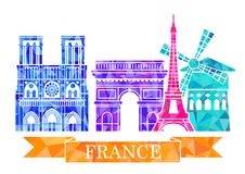 Free Architectural Landmarks Of Paris In Polygonal Style. Eiffel Tower, Arc De Triomphe, Notre Dame Cathedral, Montmartre. Royalty Free Stock Photos - 92802948
