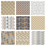 Architectural and landscape rocks and bricks patterns set Stock Image