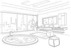 Architectural linear sketch bathroom interior Royalty Free Stock Images