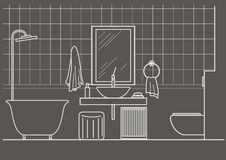 Architectural linear sketch bathroom interior front view on gray background. Architectural sketch bathroom interior front view on gray background Royalty Free Stock Photography
