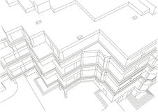 Architectural linear sketch of building Stock Photos