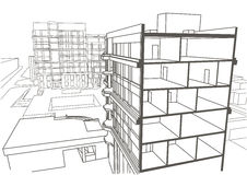 Architectural linear sketch multistory apartment building Royalty Free Stock Photography