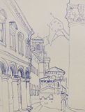 Architectural lineart sketch in Bologna, Italy, via Zamboni view Stock Photography