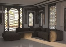Architectural Living Room Design with Gray Chairs Royalty Free Stock Photography