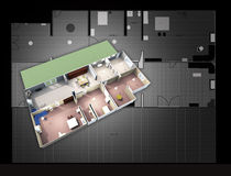 Architectural map and 3d plan Royalty Free Stock Photos