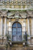 Architectural masterpiece. An ancient balcony and doors from Kirby Hall Northamptonshire royalty free stock images