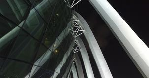 Architectural masterpiece shot at night in Singapore stock video