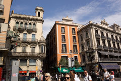 Architectural masterpieces in a pedestrian street in Barcelona R Royalty Free Stock Images