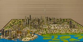 Architectural model of Dubai Downtown stock photos