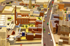 Architectural model of industrial district Stock Photos