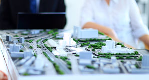 Architectural model. Of a modern buildings royalty free stock photography