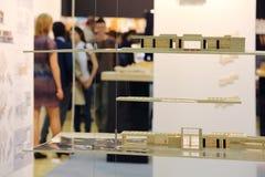 Architectural models on hanging shelves Stock Images
