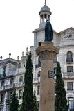 Architectural monument in Plaza Catalunya. Architectural monument and masterpieces of the building in a Spanish Barcelona stock images