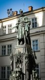 Architectural monuments. Architecture and landmark of Prague, postcard of Prague. Bronze Statue of the eleventh King of Czech and Roman Emperor Charles IV. in Royalty Free Stock Photos