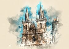 Architectural monuments. Architecture and landmark of Prague, postcard of Prague. Prague Old Town Square and Church of Mother of God. Watercolor background Stock Images
