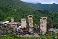 Architectural monuments of Upper Svanetia. Mestia — the settlement of city type in the Upper Svaneti Royalty Free Stock Photo