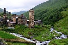 Architectural monuments of Upper Svanetia. UNESCO World Heritage Sites Stock Photos