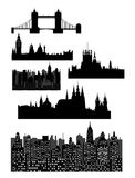 Architectural monuments - vector. Famous architectural monuments and landmarks - London, Prague and modern city - vector Royalty Free Stock Images