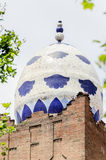 Architectural mosaic detail in shape of egg on building in Madri Stock Image
