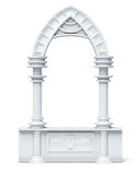 Architectural objects columns arch parapet balustrade on wh Royalty Free Stock Images