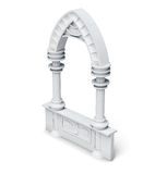 Architectural objects columns arch parapet balustrade on wh Royalty Free Stock Photo