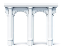 Architectural objects columns arches  on white background. 3d rendering Stock Image
