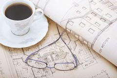 Architectural office. Coffe break in a architectural office Royalty Free Stock Photos