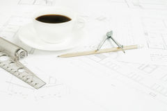 Architectural office desk. Royalty Free Stock Image