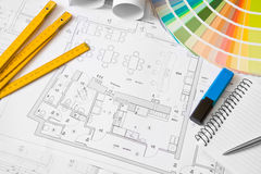Architectural office objects. Blueprint of architectural drawing, office objects royalty free stock photos