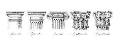 Free Architectural Orders. 5 Types Of Classical Capitals - Tuscan, Doric, Ionic, Corinthian And Composite Stock Photos - 156369663